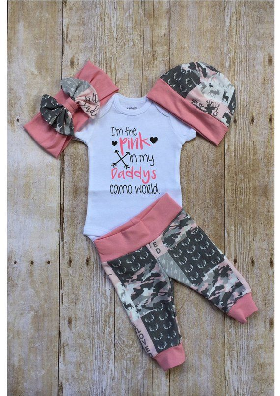 Photo of Pink Camo Coming Home Outfit, I'm the Pink in Daddy's Camo World Girls Baby Set, Custom Newborn Hospital,  Baby Shower Gift, Hunting, Prop
