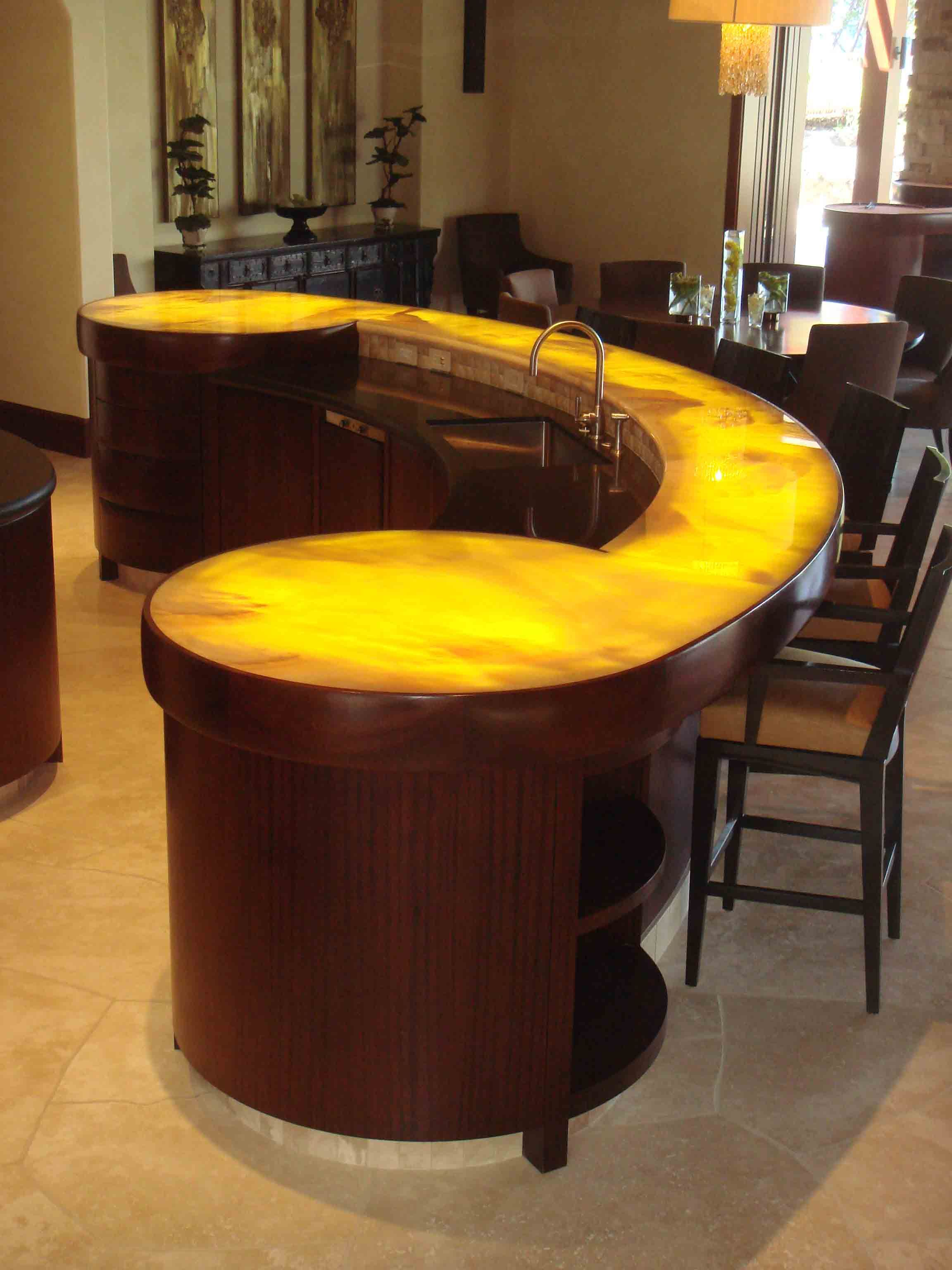Fetching Modern Bar Counter Designs For Home Design With Dark Brown Wood Small Table Also Splendid Curved And Eye Catching Yellow Countertop