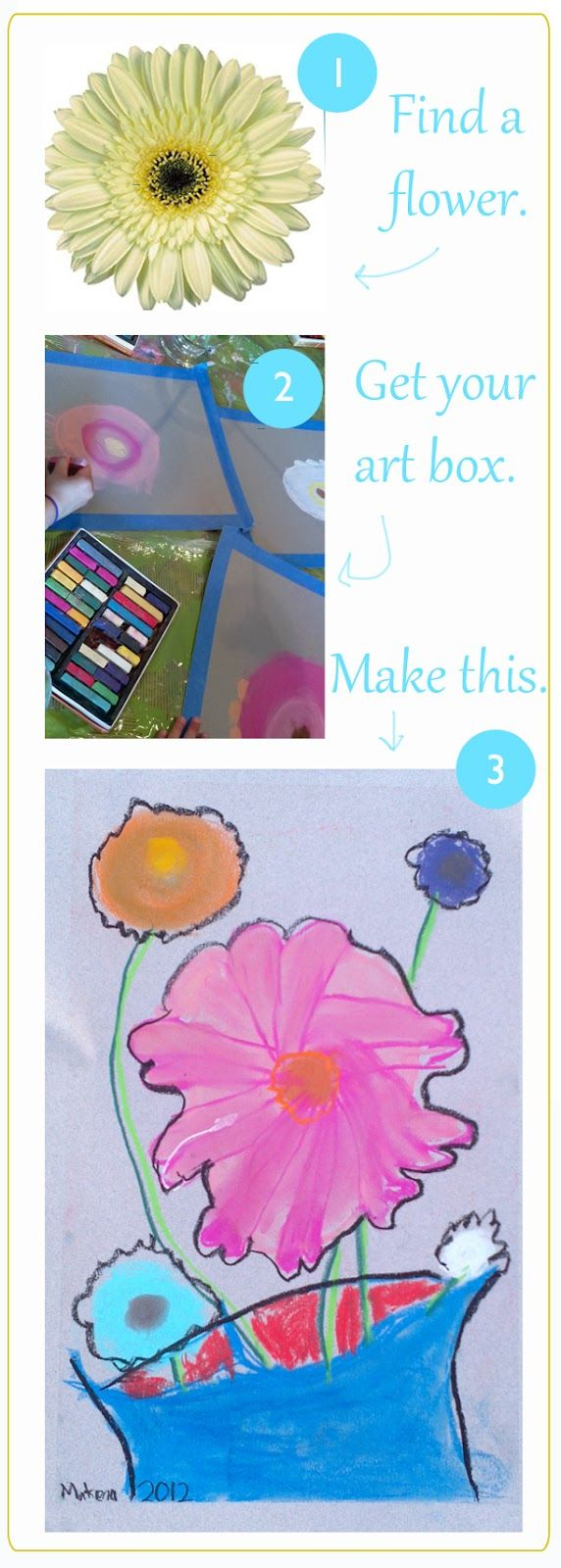 flower drawings for kids. use real flowers for examples. draw big. use pastels. cool.