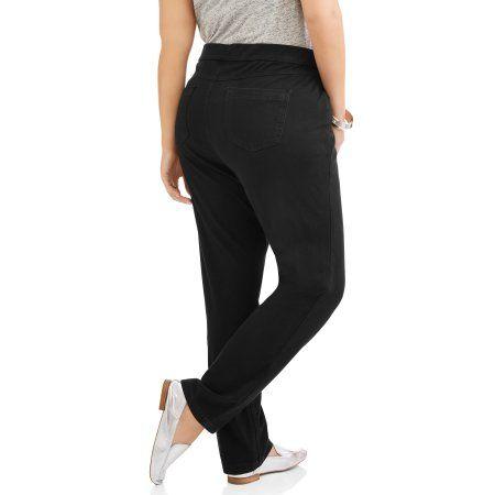 Erika Women's Plus Knit Denim Pull-On Pants, Black
