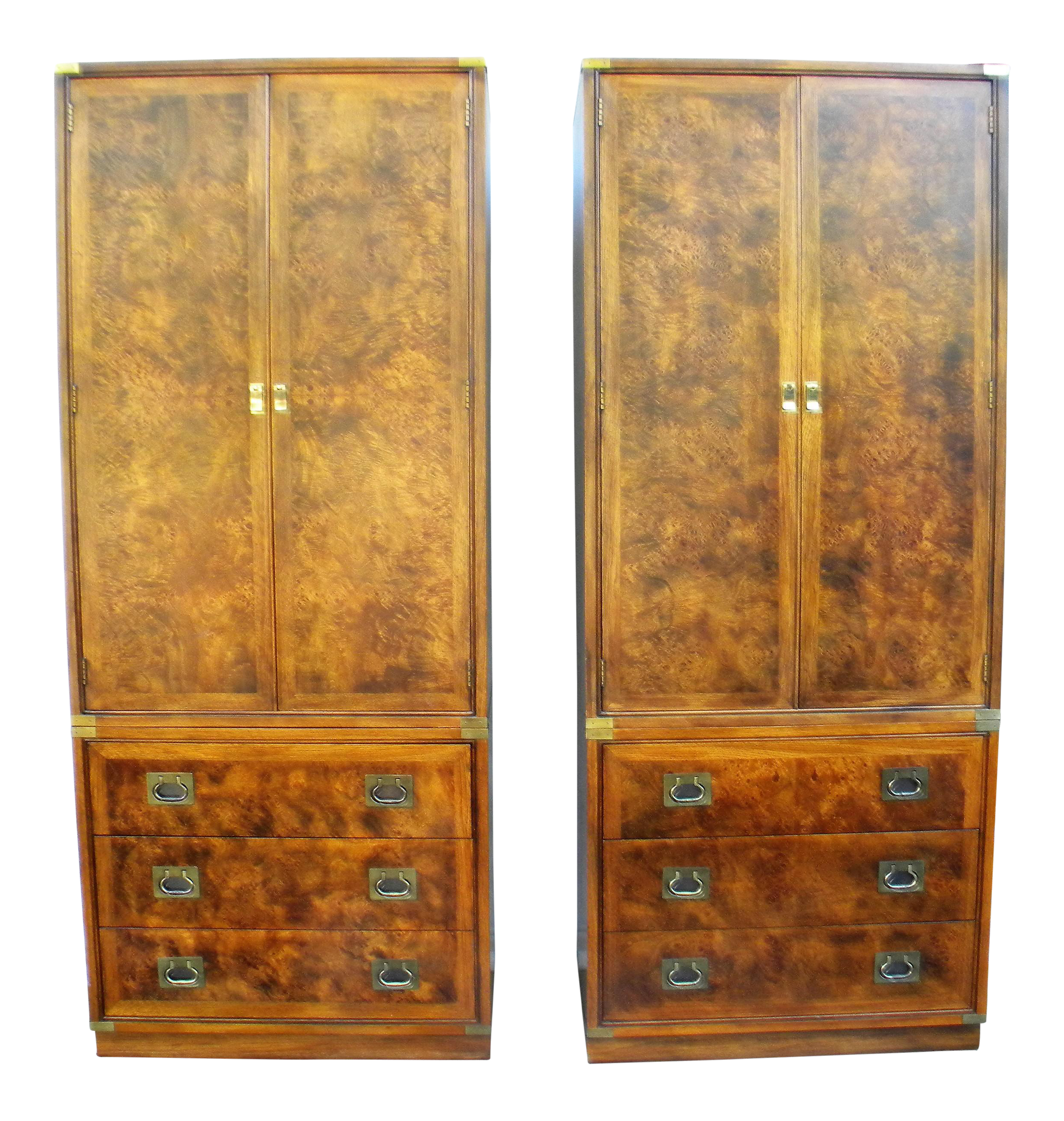 Hickory Furniture Company Campaign Cabinets   A Pair