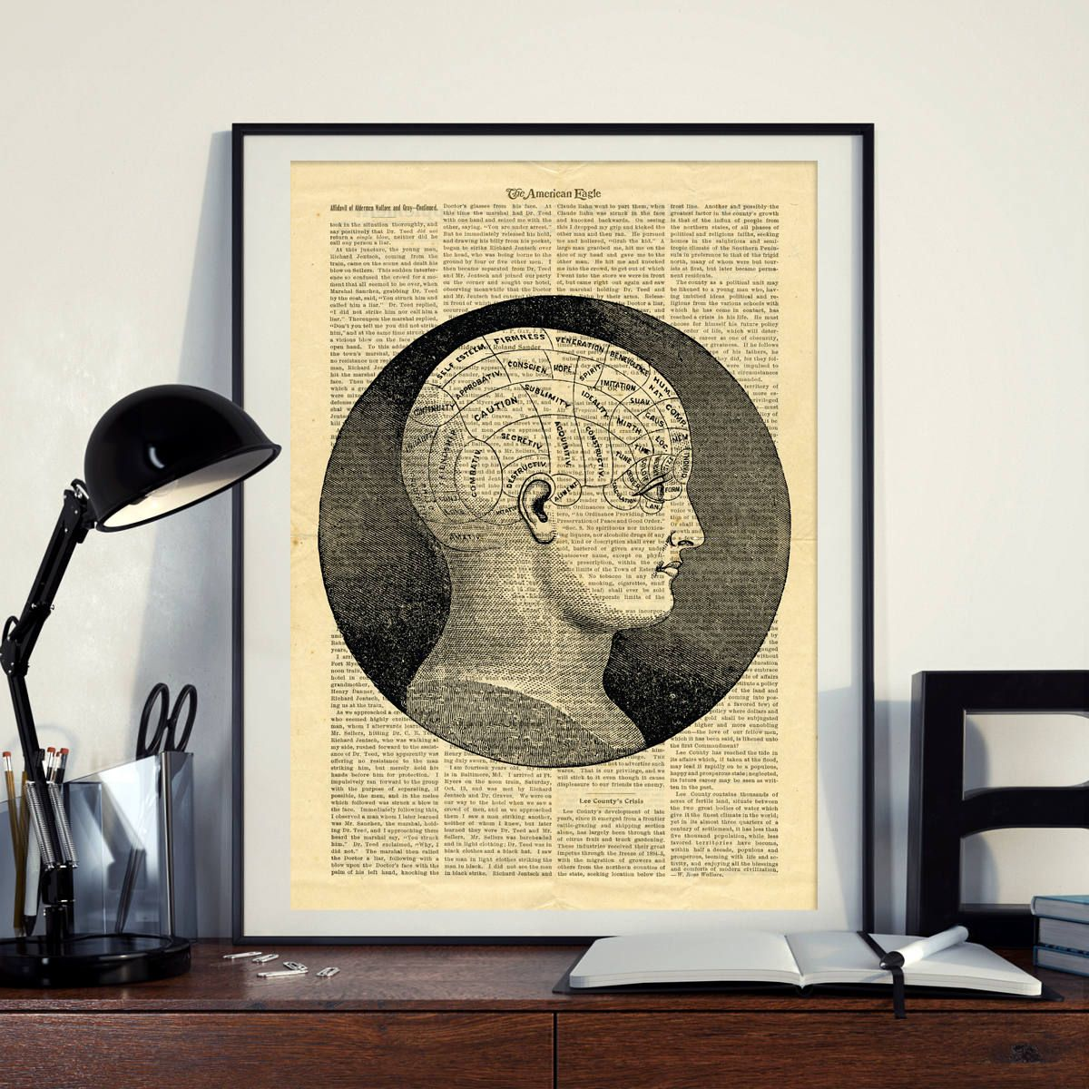 Phrenology Science Vintage Human Head Brain Printable Collage Old ...