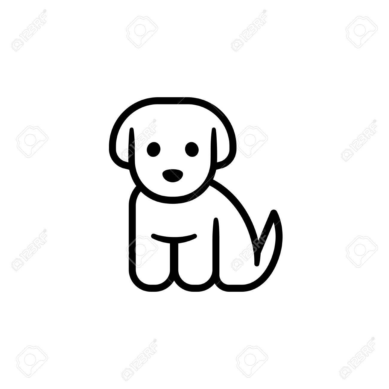 Little Puppy Icon Simple Cute Cartoon Dog Vector Illustration