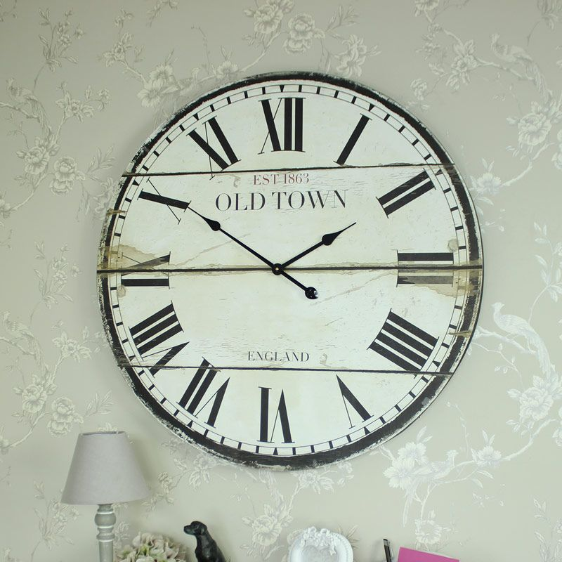 Large Wooden Vintage Style Town Hall Wall Clock