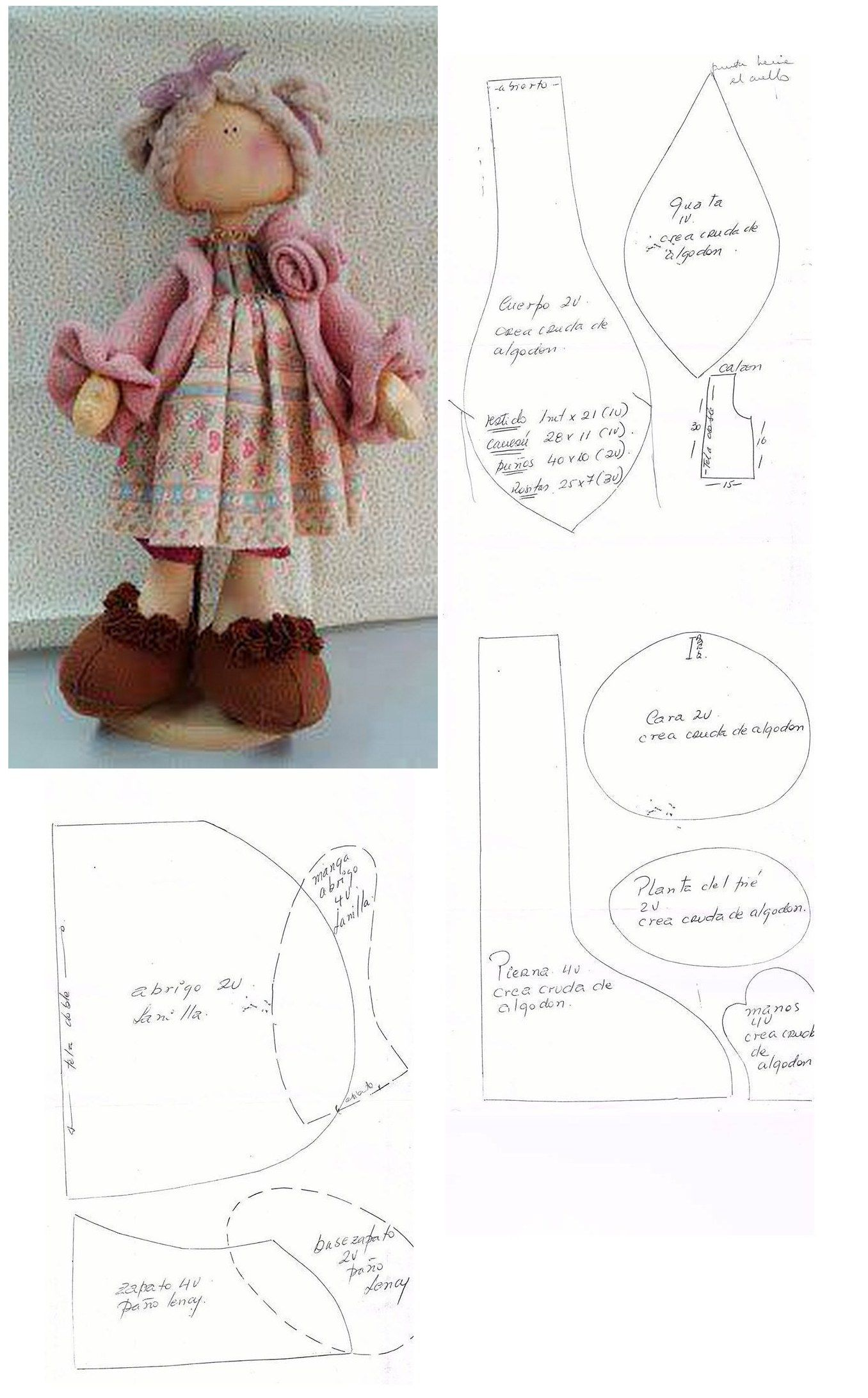 lovely cloth doll pattern   Proyectos de costura   Pinterest ...