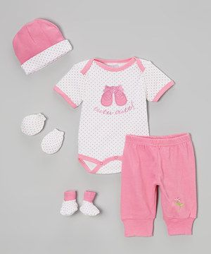 Another great find on #zulily! Mon Cheri Baby White & Pink Polka Dot Ballet Bodysuit Set by Mon Cheri Baby #zulilyfinds