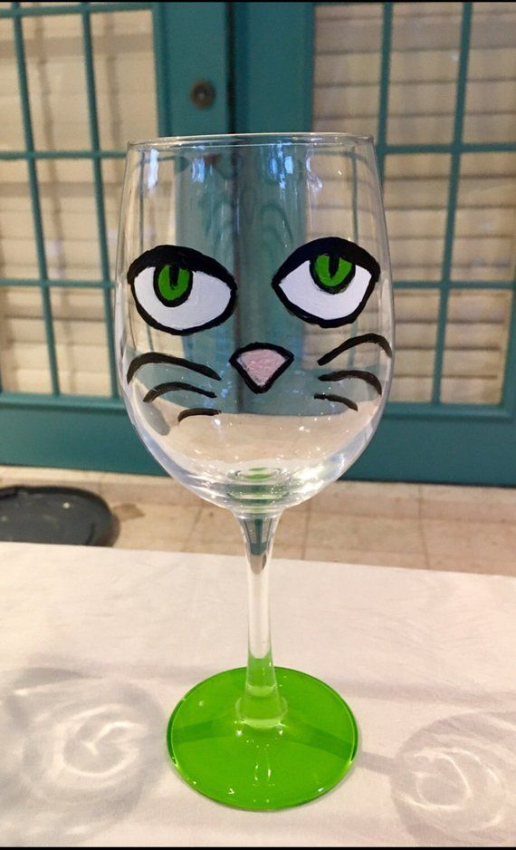 Cat Wine Glass Hand Painted Wine Glass Cat Face Wine Glass For Cat