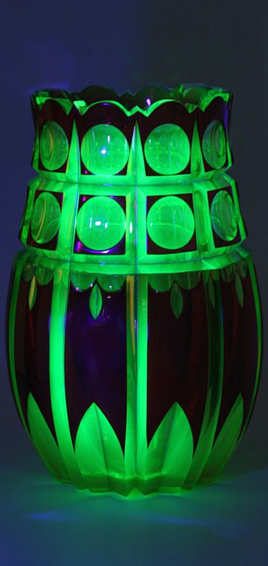 Val St Lambert Cranberry Cut To Uranium Glass Vase C 1930 Vases