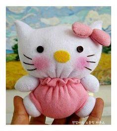 Hello Kitty Feita De Meia Passo A Passo Boneco De Meia Bolsa Da
