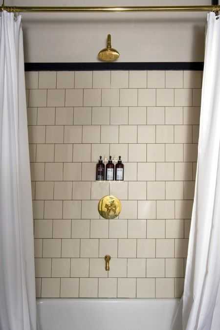 hotel bathroom fixtures. Ace Hotel Bathroom With White Subway Tile For The Shower. Love Brass Fixtures. Fixtures L