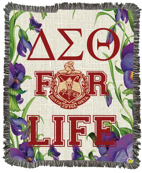 Delta Sigma Theta For Life African Violets Woven Afghan