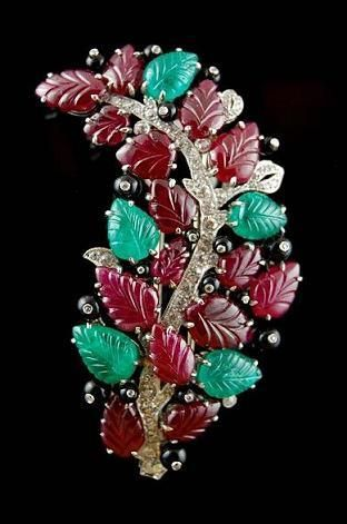 Carved Ruby, Emerald Diamond Pin - Yafa Jewelry
