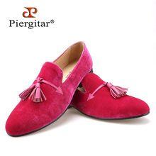 675026f6e17b4 2015 Nouveau rose couleur hommes velours chaussures gland de mode en cuir  hommes mocassins de mariage et de partie chaussures hommes plat size6-14 ...