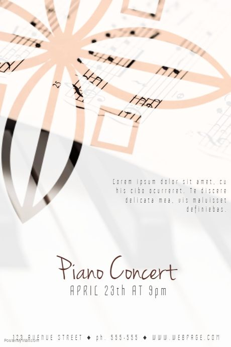 piano concert flyer template postermywall free poster templates