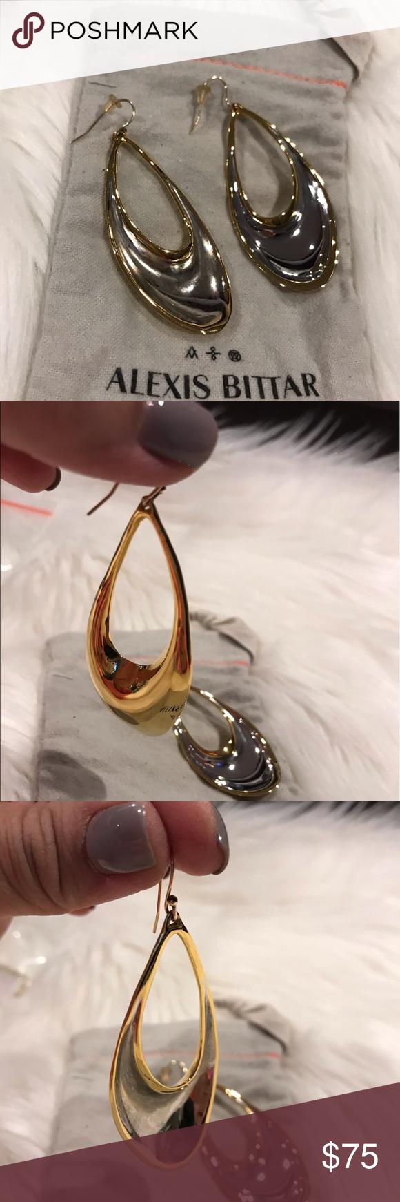 Alexis Bittar Miss Havisham Liquid Link Drop Beautiful Silver And Gold Earring Conditions