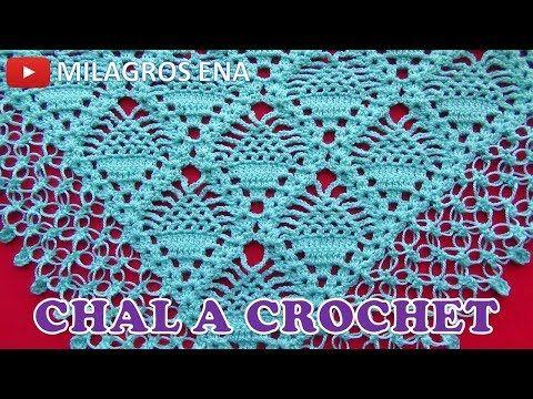 Como tejer un Chal triangular, en V o en punta a crochet ganchillo ...