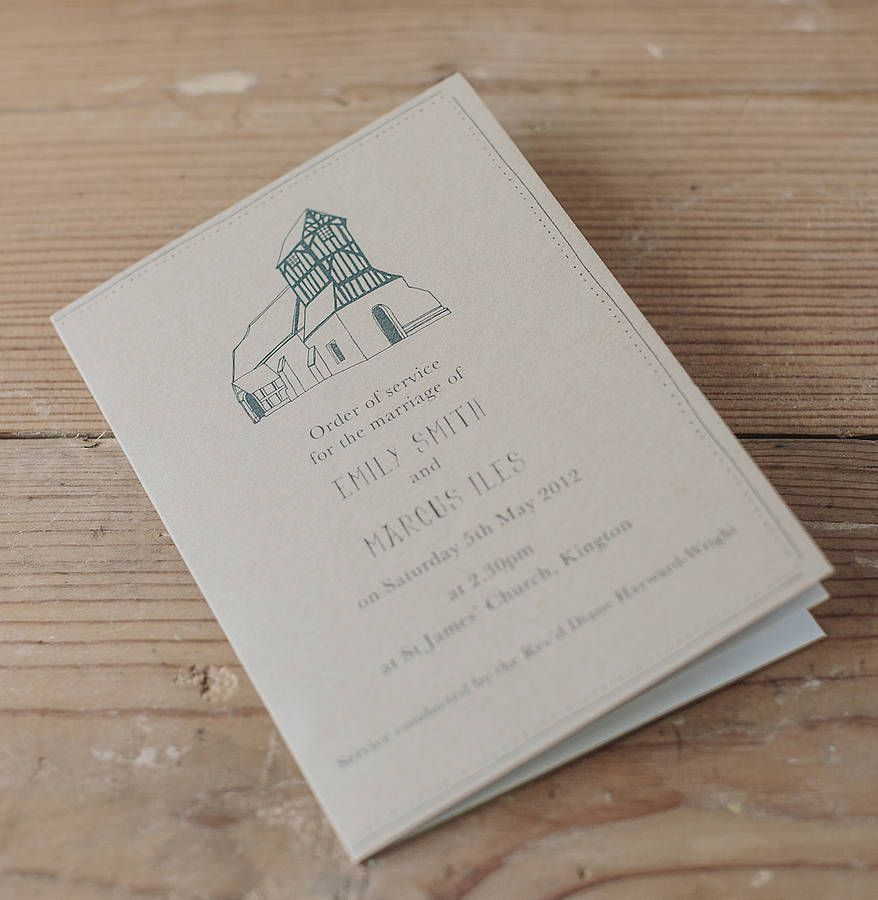 bespoke illustrated order of service booklet by charlie scribble | notonthehighstreet.com