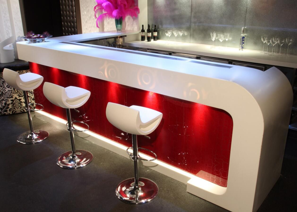 Solid Surface Led Red Bar Counter Home Bar Counter Bar Counter Curved Kitchen