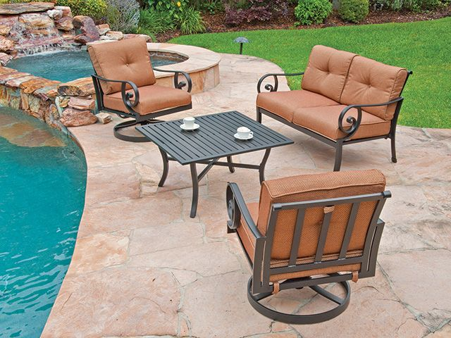 Tremendous Woodard Santa Monica Cushion Aluminum 4 Pc Seating Group Interior Design Ideas Tzicisoteloinfo