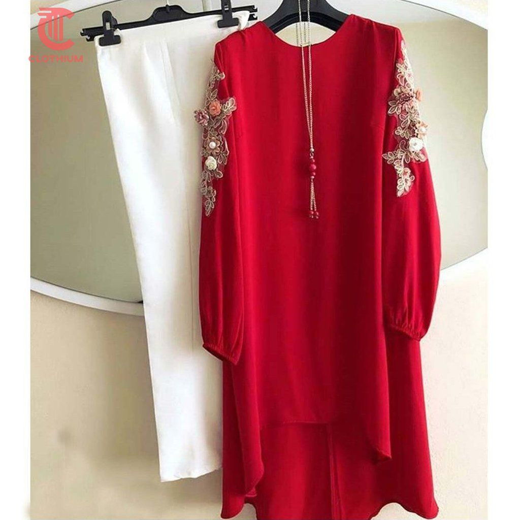 Fabulous Red And White Color Top And Pant Western Dresses For Women Fashion Clothes For Women [ 1024 x 1024 Pixel ]