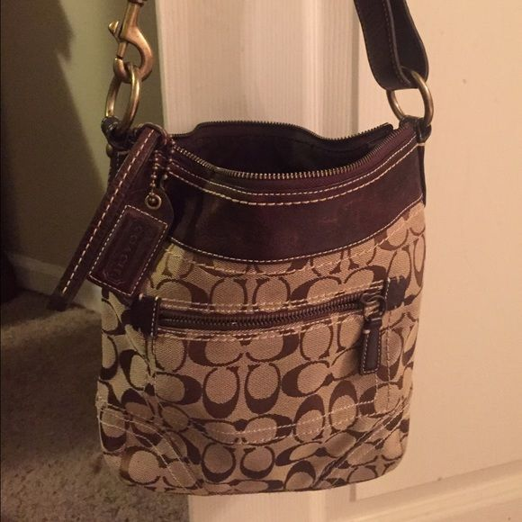 COACH BROWN SHOULDER PURSE Authentic Coach brown shoulder one strap medium size leather/fabric Coach Bags Shoulder Bags