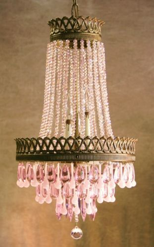 Vintage French Cage Crystal Lustre Chandelier W French Pink