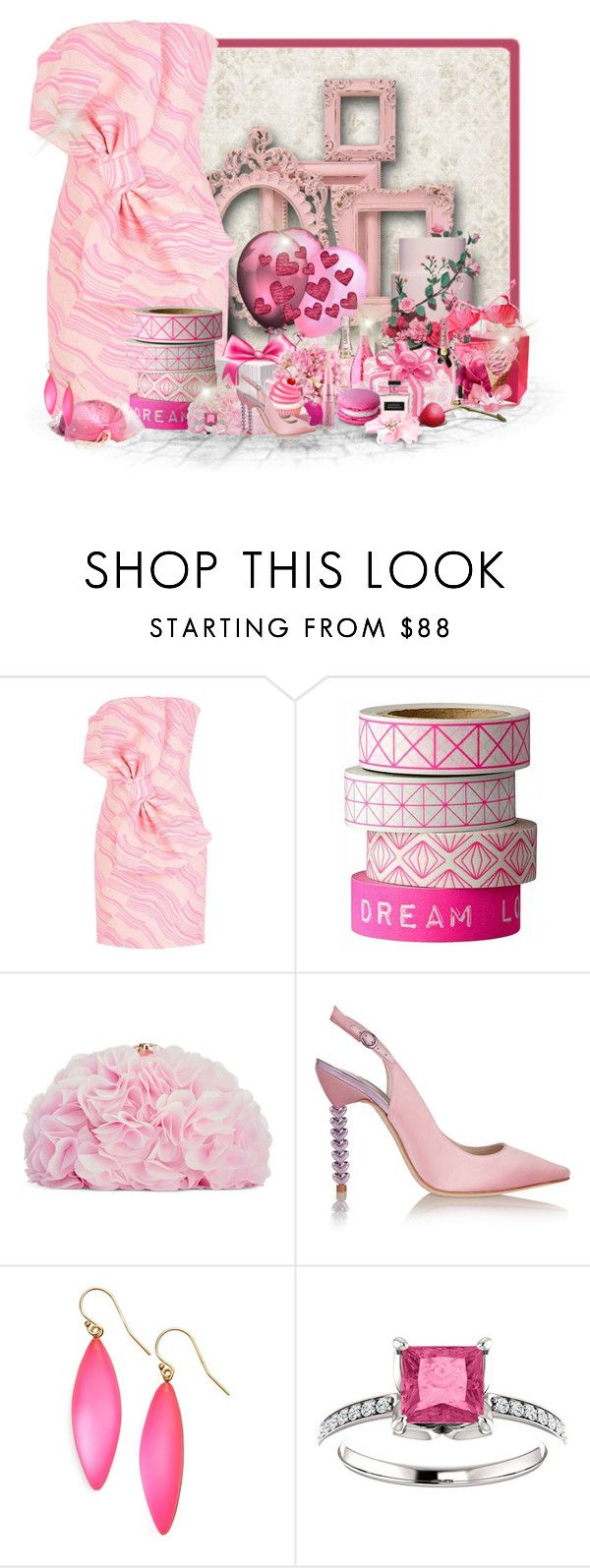 """Pink Frames"" by majezy ❤ liked on Polyvore featuring Boutique Moschino, Bloomingville, Goody, Betsey Johnson, Sophia Webster and Alexis Bittar"