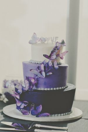 purple butterfly wedding cake // photo by TealePhotography.net