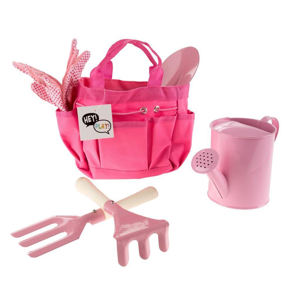 Hey Play Kids Pink Gardening Tool Set With Canvas Bag Garden