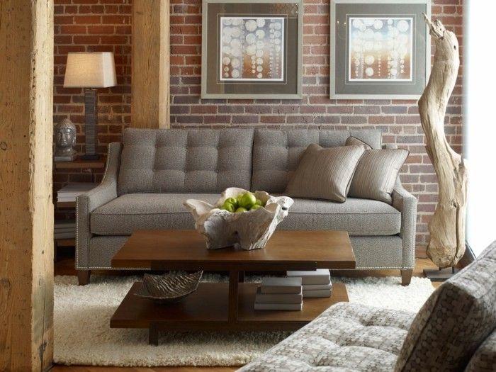 Ideen Fr Wandgestaltung Wohnzimmer Ziegelwand Holzakzente Rustikal