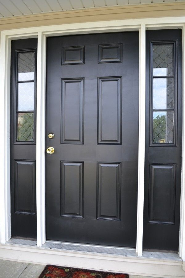 Black Front Door With Trim Around Sidelights Painted Black Also I