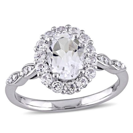 Zales Oval White Topaz and Diamond Accent Frame Ring in 10K Gold UteLcqx