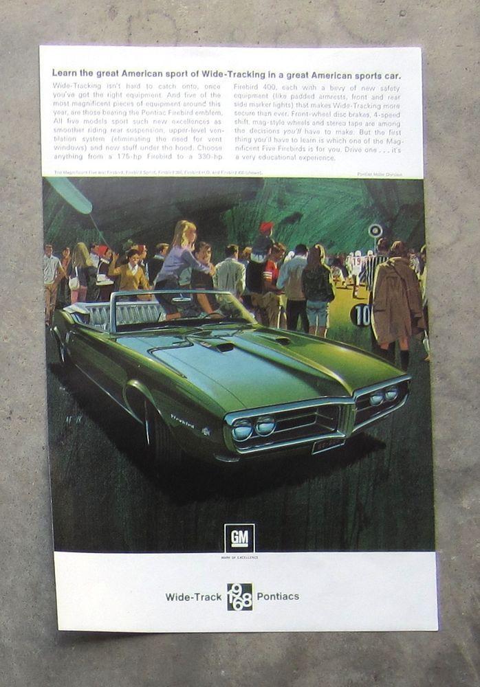 PONTIAC FIREBIRD 1968 Vintage Auto Magazine Sales Ad Page ...