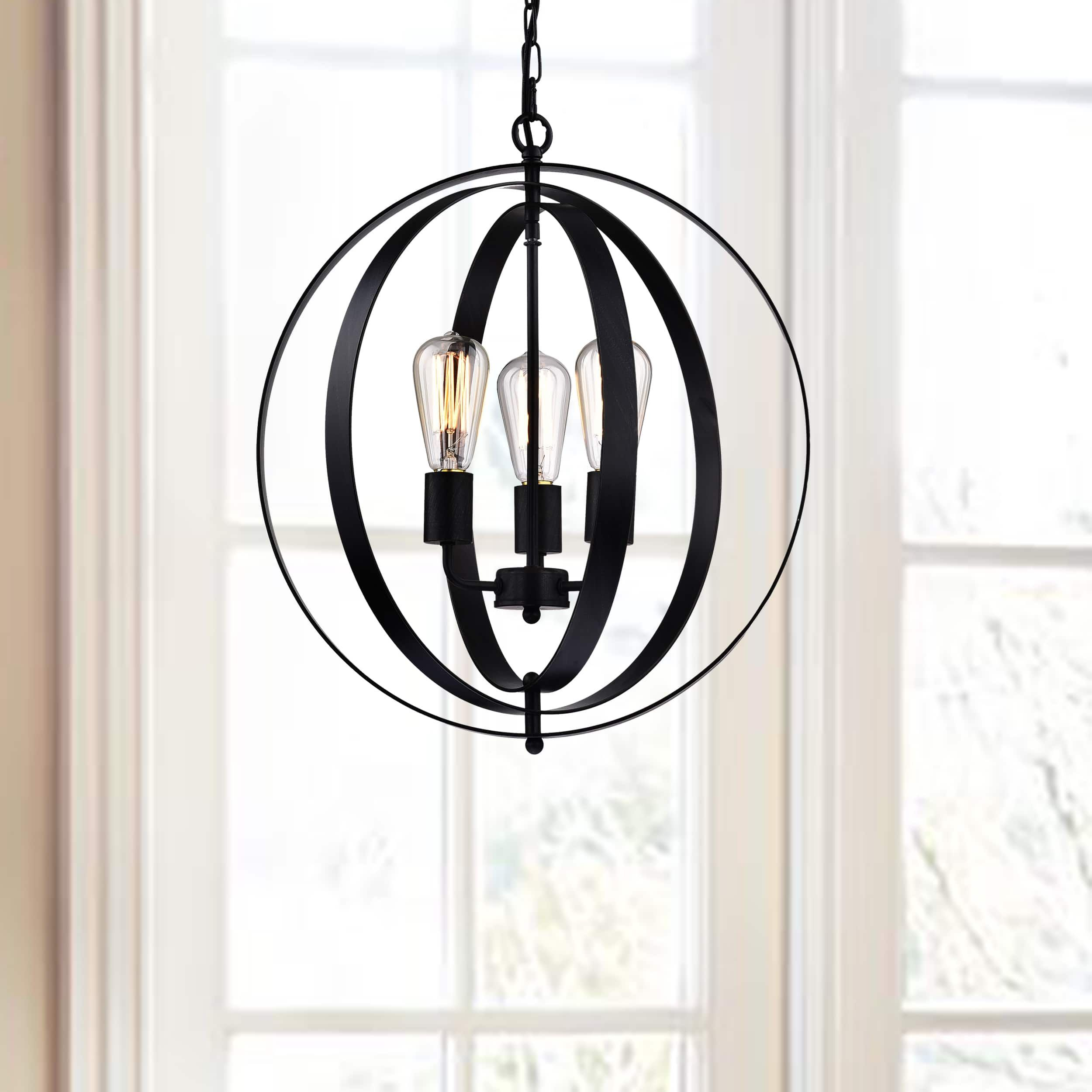 Benita Antique Black 3 light Concentric Mixed Iron Rings Orb