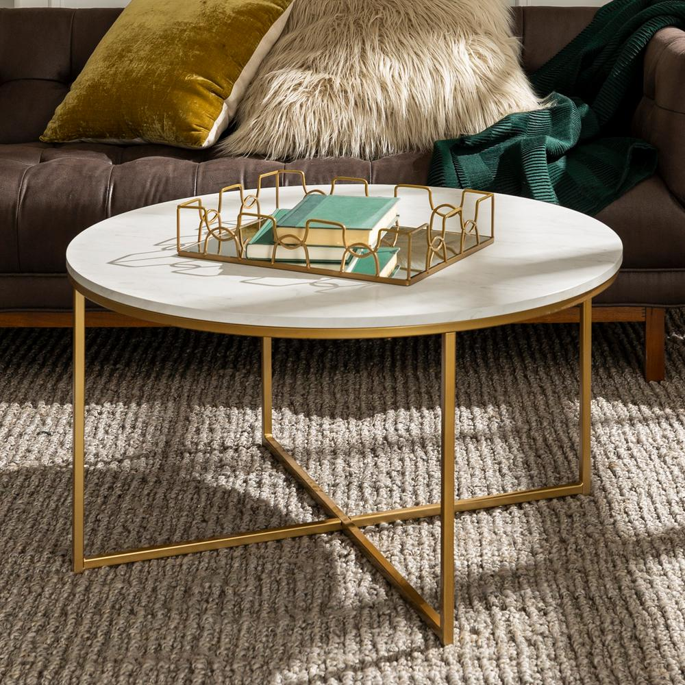 Walker Edison Furniture Company 36 In Faux Marble Gold Coffee Table With X Base Hdf36alctmgd The Home Depot Coffee Table Faux Marble Coffee Table Gold Coffee Table [ 1000 x 1000 Pixel ]