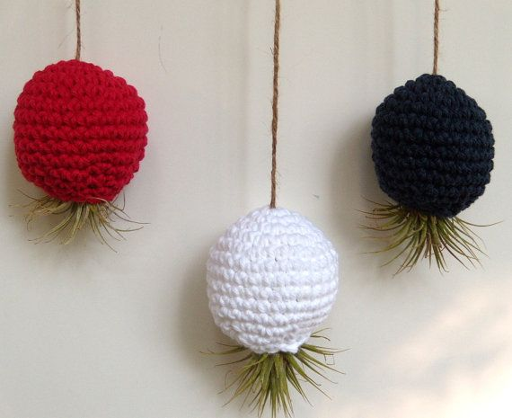 Patriotic Trio Hanging Air Plant Terrariums in by airyobsessions, $33.50