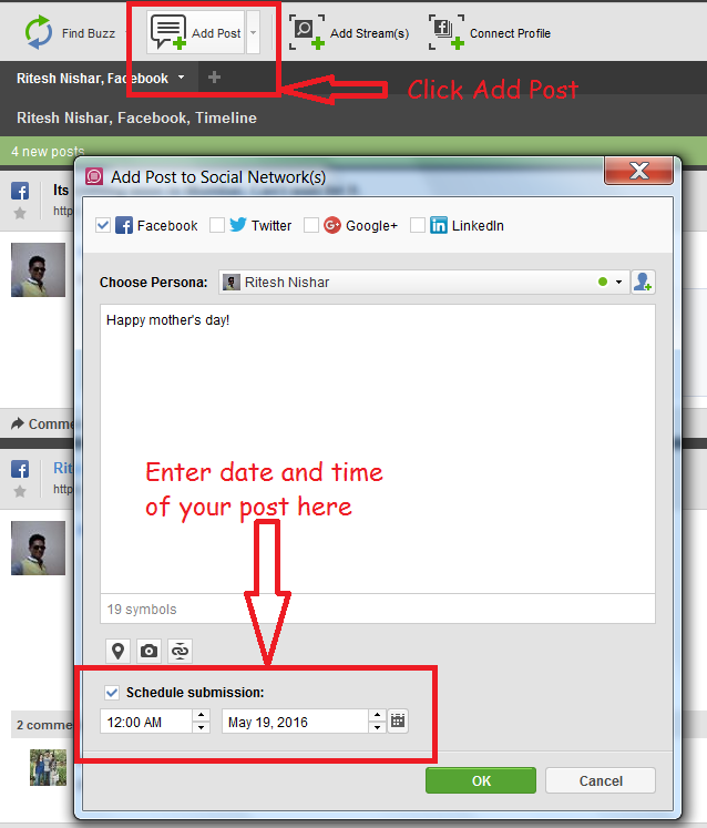 Facebook allows you to schedule a post for future on your