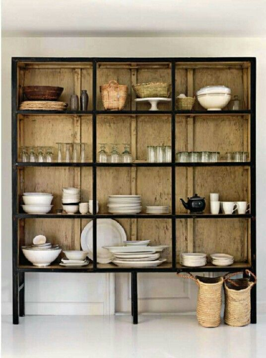 Wood And Steel Shelving Unit In Kitchen