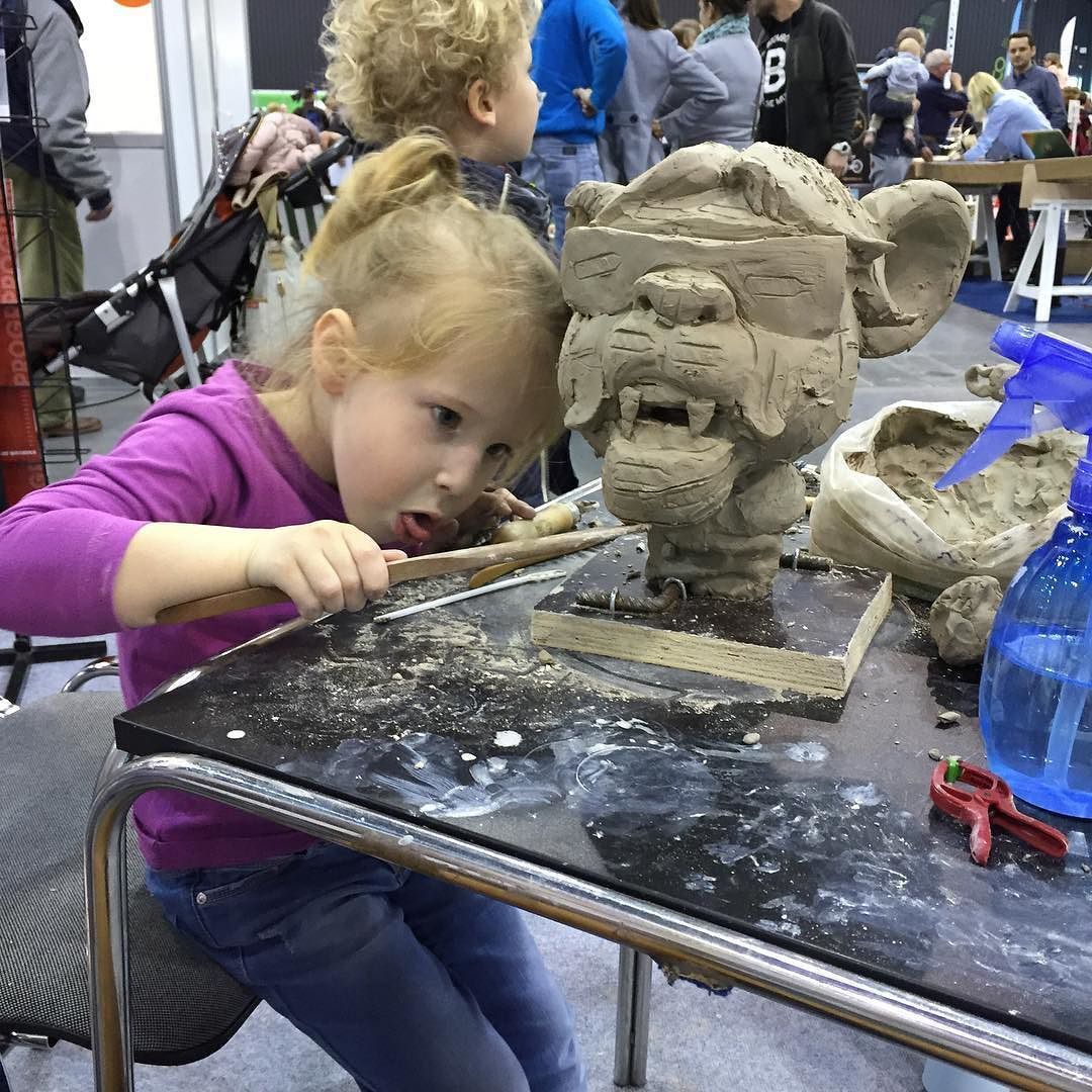My daughter sculpting by radziewiczsculptor