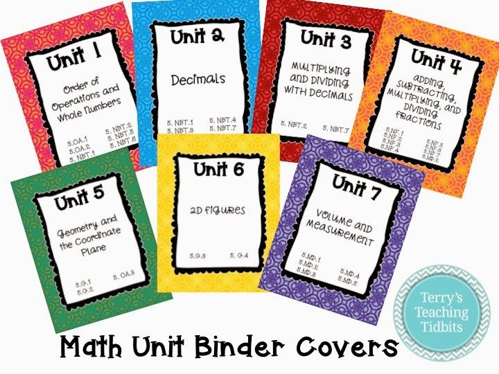 Terry's Teaching Tidbits: Math Unit Binder Covers for 5th Grade