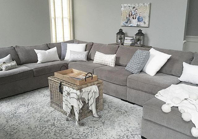 The Kipling 4-piece chenille sectional sofa delivers with crisp clean lines and details like roll arms, piping and a subtle herringbone pattern. The neutral, easy-care upholstery adapts to any decor.  Photo via Instagram @beauty.in.everyday.living #myrfstyle