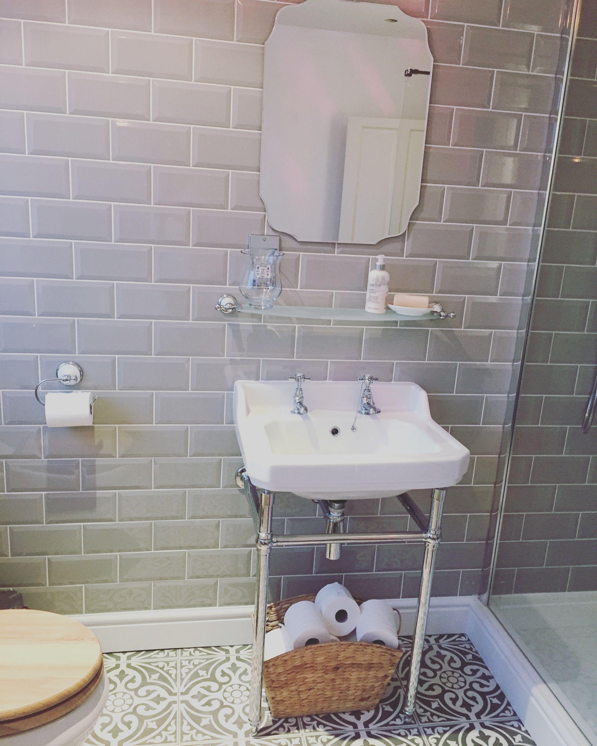 Bathroom grey metro tiles victorian plumbing grey
