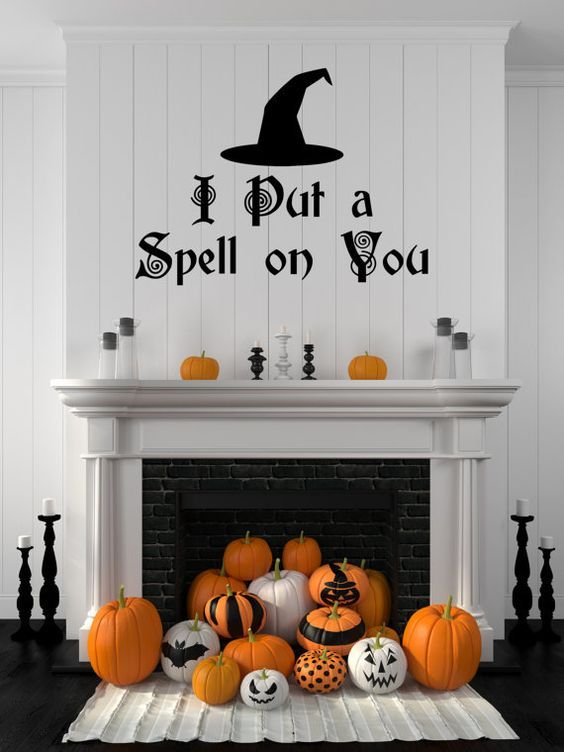 I Put a Spell on You Fireplace mantel | Halloween ...