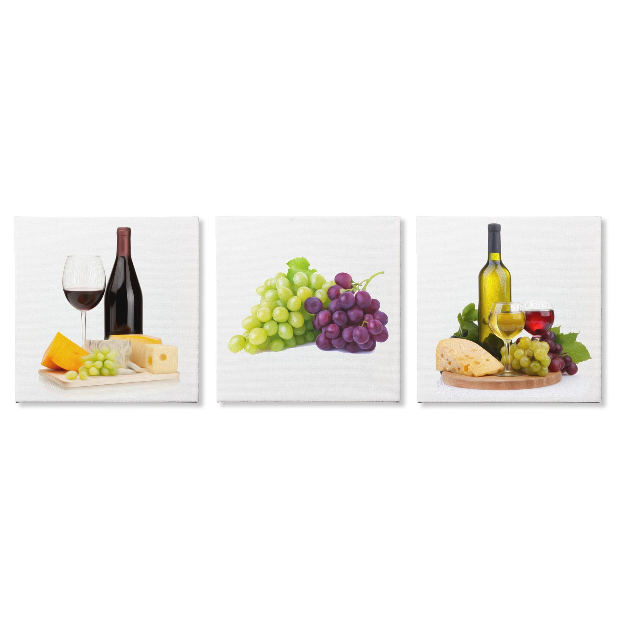 Kitchen art wine - Modern Kitchen Art Wine And Cheese Food Painting Brushstroke Gicl E Print On Canvas