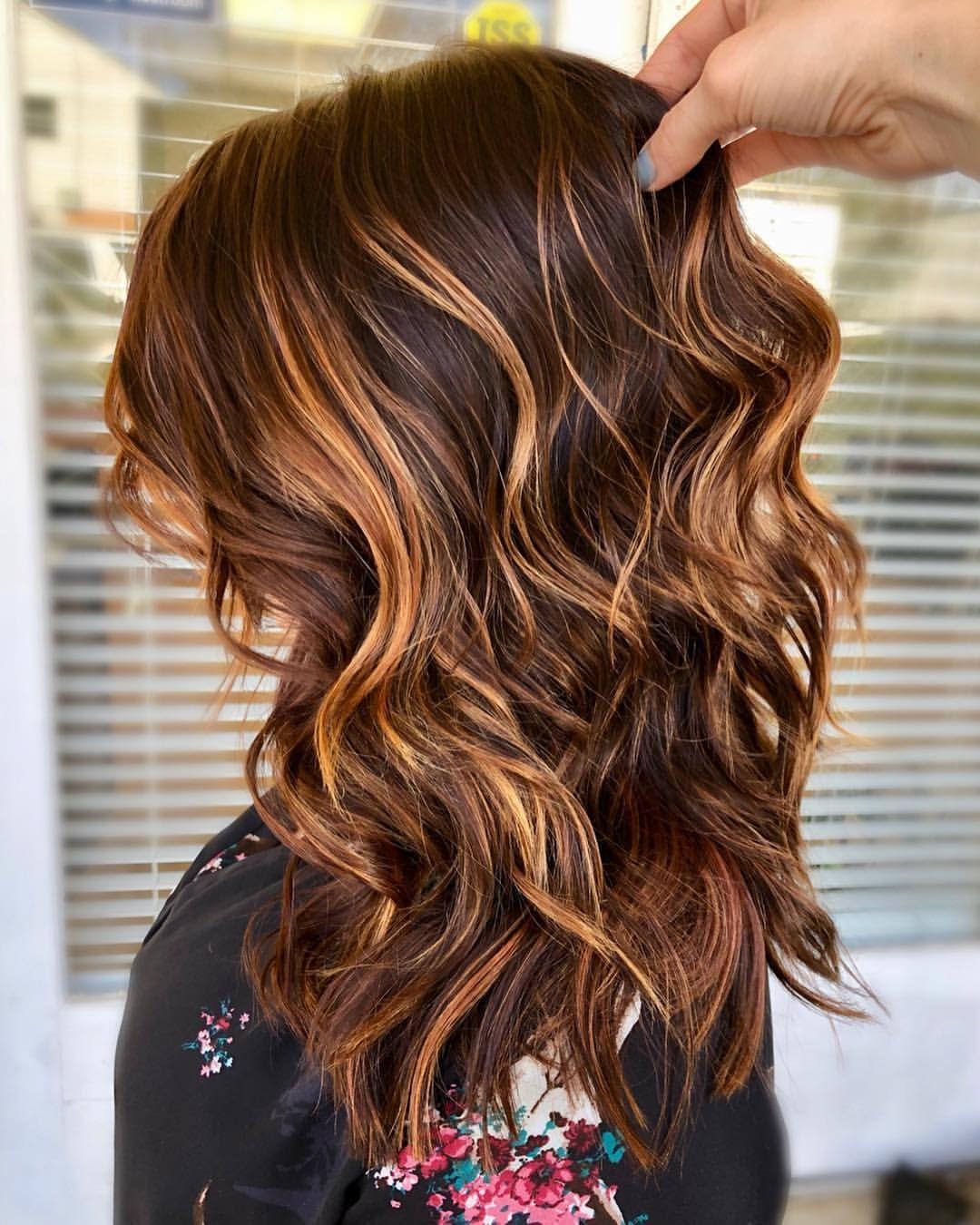 Copper Toned Carmel Highlights Brunette Balayage Long Hair Dark Red Base Balayage Long Hair Carmel Hair Carmel Hair Color