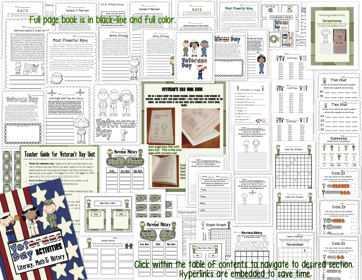 Veterans Day Literacy Math Glyph Craftivites Amp More