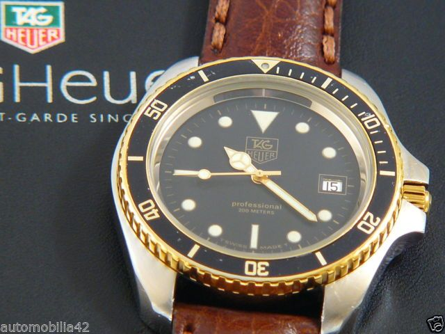 TAG Heuer 1000 Big 45mm Submariner Man Twotone on a brown ...
