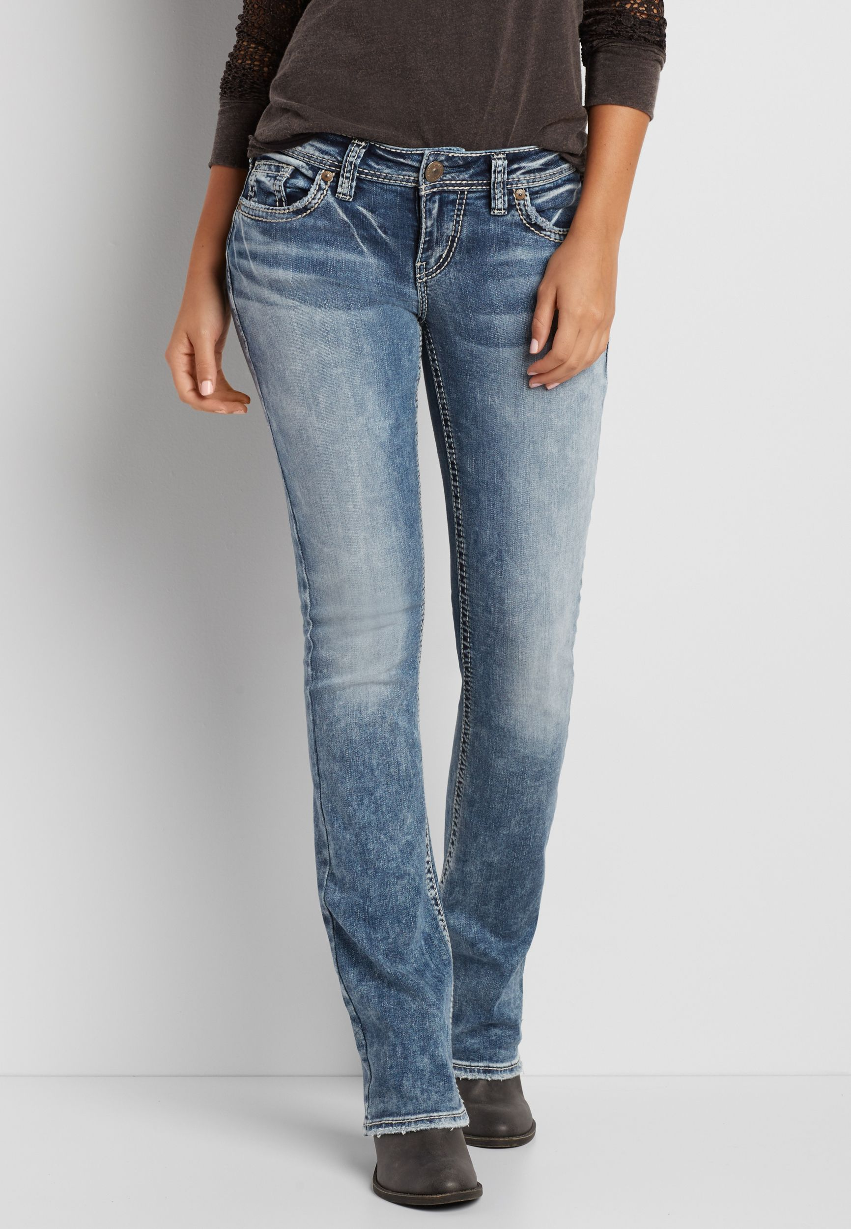 4db679c7bf2 Silver Jeans Co. ® Aiko bootcut jeans in marbled medium wash (original  price, $99.00) available at #Maurices