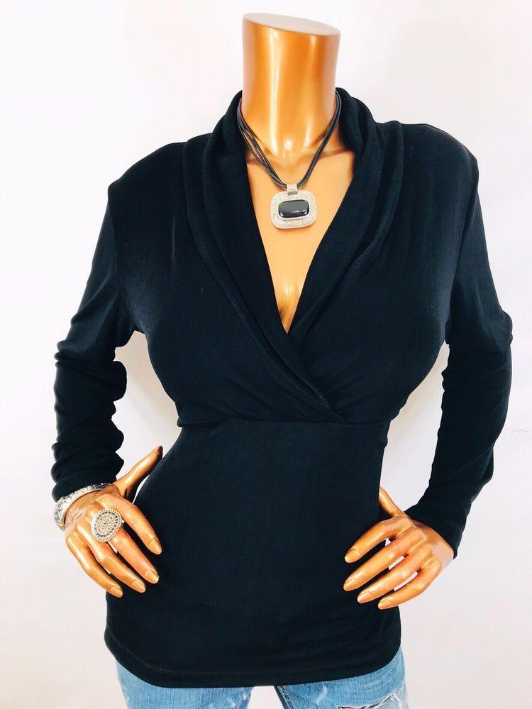 d4b4435bead Chico's Travelers 1 or M Top Low Cut Black Blouse Shirt Long Sl Women V Neck  USA | eBay