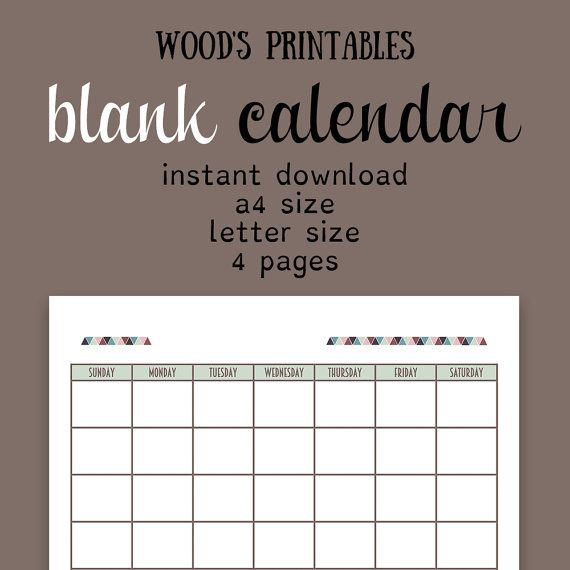 Blank Calendar PDF Printable Calendar Calendar by woodsprintables - printable calendar pdf